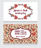 Wedding cards with folkloric flowers Royalty Free Stock Photos