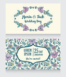 Wedding cards with folkloric flowers Stock Photography