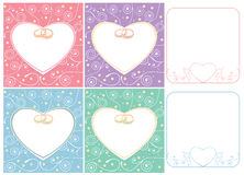 Wedding cards and frames with rings Royalty Free Stock Images