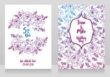 Wedding cards with peonies frame and pattern Royalty Free Stock Images