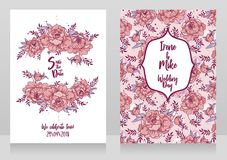 Wedding cards with peonies frame and pattern Stock Photography