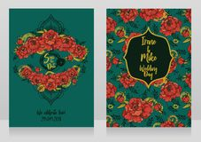 Wedding cards with peonies and menhdi style decorative frame. Beautiful vector illustation Royalty Free Stock Images