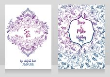 Wedding cards with peonies and menhdi style decorative frame. Beautiful vector illustation Royalty Free Stock Photos