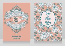 Wedding cards with peonies and menhdi style decorative frame. Beautiful vector illustation Stock Photography