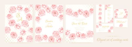 Wedding Cards Set with Delicate Pink Roses. vector illustration