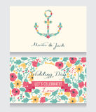 Wedding cards template with flowers formed anchor Stock Photography