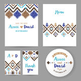 Wedding cards with tribal ornaments Royalty Free Stock Photography