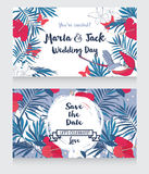 Wedding cards in tropical style Royalty Free Stock Photography