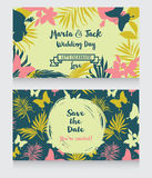 wedding cards in tropical style Royalty Free Stock Photos
