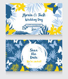 Wedding cards in tropical style Stock Photography