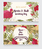 Wedding cards in tropical style Royalty Free Stock Image