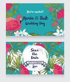 Wedding cards in tropical style Royalty Free Stock Images