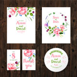 Wedding cards with watercolor flowers Stock Image