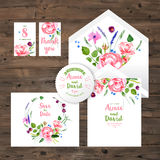 Wedding Cards With Watercolor Floral Elements Royalty Free Stock Images