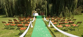 Wedding carpet. In the nature Royalty Free Stock Photos