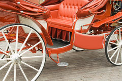 Wedding carriage. The red wedding carriage with the open door Royalty Free Stock Photo