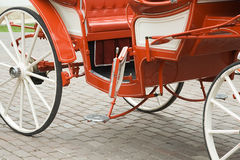 Wedding carriage. The red wedding carriage with the open door Royalty Free Stock Photography