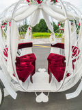 Wedding Carriage. The seating area of a fairyland, princess wedding carriage Stock Photo