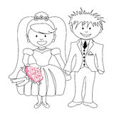 Wedding - cartoon bride and groom Stock Images