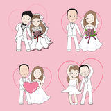 Wedding cartoon, bride and groom holding each other's hands Stock Image