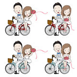 Wedding cartoon, bride and groom riding bicycle with flower bouquet Stock Photos