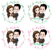 Wedding cartoon, bride and groom standing in floral vine circle. With smiling on white background Stock Image