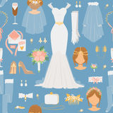 Wedding cartoon bride icons vector seamless pattern Royalty Free Stock Photos
