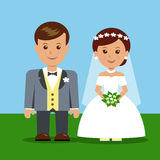 Wedding cartoon characters. Royalty Free Stock Photography