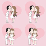 Wedding cartoon, cute couple kissing. In wedding dress Royalty Free Stock Photography