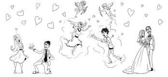 Wedding cartoon. Illustration of stylized wedding cartoon set Royalty Free Stock Photo