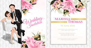 Wedding cartoon invitation card in luxury and modern style. Royalty Free Stock Image