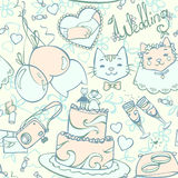 Wedding cartoon pastel seamless pattern Royalty Free Stock Photo