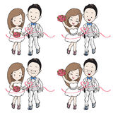 Wedding cartoon in running athletics and sport theme at finish line Royalty Free Stock Image