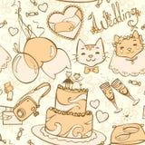 Wedding cartoon seamless pattern Stock Images
