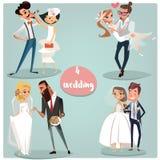 Wedding cartoon set Stock Photo