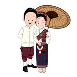 Wedding cartoon vector, bride and groom in north-east thai traditional dress Royalty Free Stock Photography