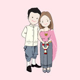 Wedding cartoon vector, couple in Thai traditional dress. Stock Photography