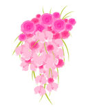 Wedding Cascade Bouquet. Of roses and orchids isolated on white background. Vector illustration Stock Photo