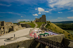Wedding on castle devin. The picture of castle devin in slovakia royalty free stock photo