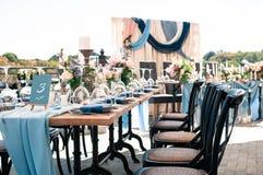 Wedding Event outdoor decoration setup, sunny summer day stock photo