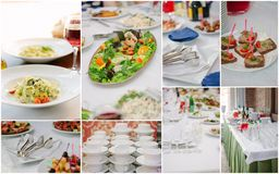Wedding catering collage - food and crockery for rehearsal dinner. Wedding catering collage - food and crockery for rehearsal dinner royalty free stock photos