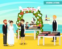 Wedding Catering Orthogonal Flat Composition. Wedding catering at seashore orthogonal flat composition with bride and groom, waiters, tables with food vector Stock Image