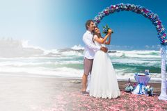 Wedding celebration at the beach Royalty Free Stock Photos