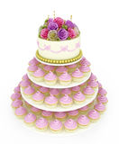 Wedding celebration cake with cupcakes Stock Photo