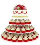 Wedding celebration cake with cupcakes Stock Image
