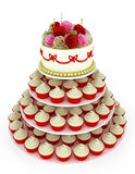 Wedding celebration cake with cupcakes Royalty Free Stock Image