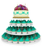 Wedding celebration cake with cupcakes Stock Photos