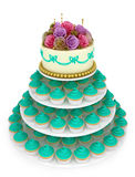 Wedding celebration cake with cupcakes Royalty Free Stock Photo
