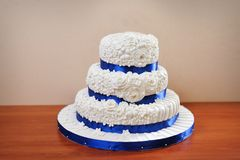 Wedding celebration cake with sugar flowers Stock Images