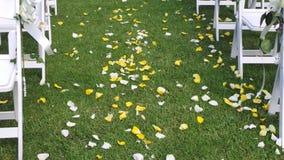 Wedding celebration. Yellow & White rose petals down the aisle. Wedding celebration. Yellow & white rose petals scattered on the floor for a wedding celebration royalty free stock photography